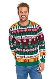 Herren Weihnachtspullover Hässliche Pullover Lustig Sweater Pulli Ugly Weihnachtspulli mit weihnachtlichen Motiven für Weihnachtsparty