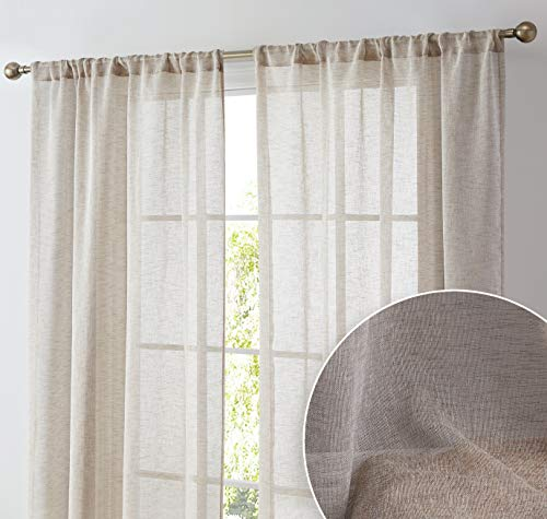 HLC.ME Penelope Faux Linen Textured Semi Sheer Privacy Sun Light Filtering Transparent Window Pocket Hole Thick Curtains Drapery Panels for Bedroom & Short Windows, 2 Panels (54 W x 54 L, Taupe)