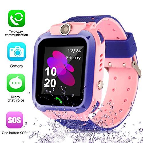 Kinder SmartWatch Phone Smartwatches mit SOS Voice Chat Kamera Taschenlampe Wecker Digitale Armbanduhr Smartwatch Girls Boys Birthday (Wasserdichtes Pink)