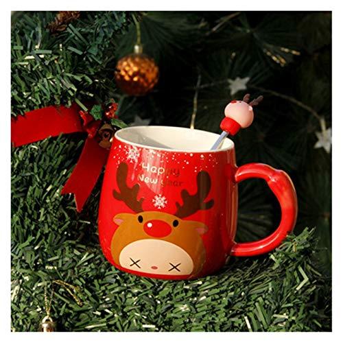 JSJJAYU Taza para Beber Taza de cerámica de cerámica de 350 ml con Cuchara de Tapa Tazas de Leche Copa de Agua Copa de Agua Niños Año Nuevo Inicio (Color : Red)