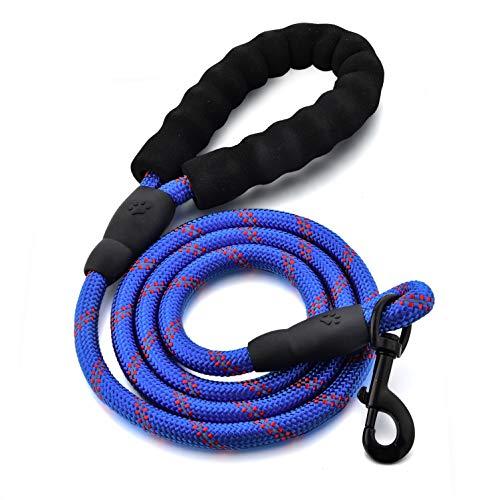 Guinzaglio per cani in corda, con morbida impugnatura imbottita e fili altamente riflettenti, corda robusta intrecciata da 1,5 m, resistente a strattoni forti