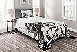 ABAKUHAUS Motorrad Tagesdecke Set, Motocross Racer, Set mit Kissenbezug Romantischer Stil, für Einzelbetten 170 x 220 cm, Weiß Schwarz