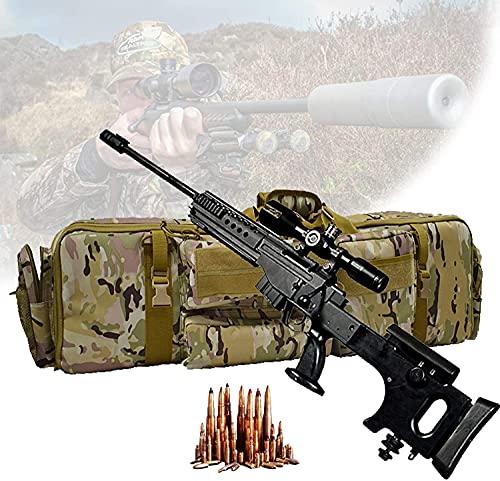 NYZXH Caja táctica de doble rifle, cajas de rifle suave con dos capas de rifle, cojín de pedestal, bastón Magic Stick fijo, bolsa de almacenamiento de rifle para escalar, pescar, acampar, caza, camufl