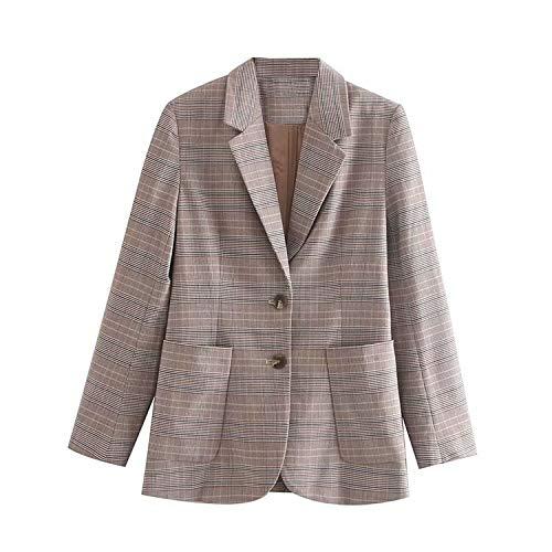 Wijnoogst kantoor slijtage plaid blazer mantel vrouwen gekerfde kraag lange mouwen bovenkleding chique bovenkant