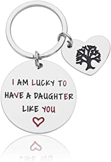 Daughter Gifts from Mom Dad Birthday Wedding Graduation Christmas Keychain for Teen Girl Child Kid Engraved I am Lucky to ...