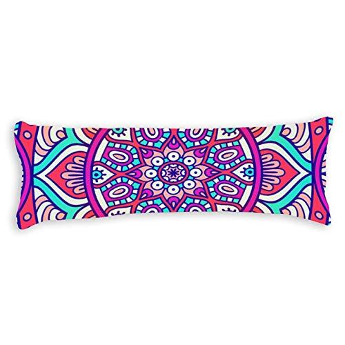 CICIDI Funda de almohada de 40 x 145 cm, diseño floral bohemio, transpirable, con cremallera, algodón y poliéster