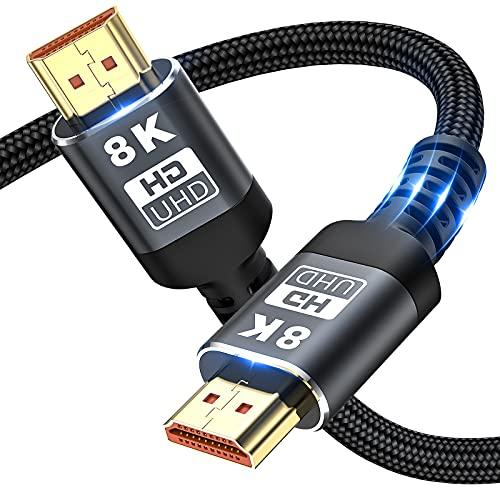 8K HDMI-Kabel 48 Gbit/s 6,6 ft, Ultrahochgeschwindigkeits-HDMI-Geflechtkabel - 4K @ 120 Hz 8K @ 60 Hz, DTS: X, HDCP 2.2 und 2.3, HDR 10 kompatibel mit Roku TV / PS5 / HDTV/Blu-ray (2M) (2M/ 6.6FT)
