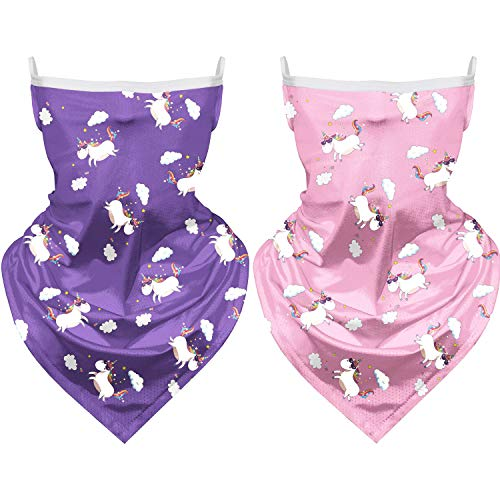 2 PCS Kids Bandana Face Mask with Ear Loops Face Cover Neck Gaiter Headband Face Scarf Bandanas for Boy Girl Dust/Wind Proof (Pink Unicorn+Purple Unicorn)