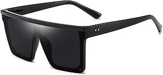 Sponsored Ad - Square Oversized Sunglasses for Women Men Fashion Flat Top Big Black Frame Shades Dollger