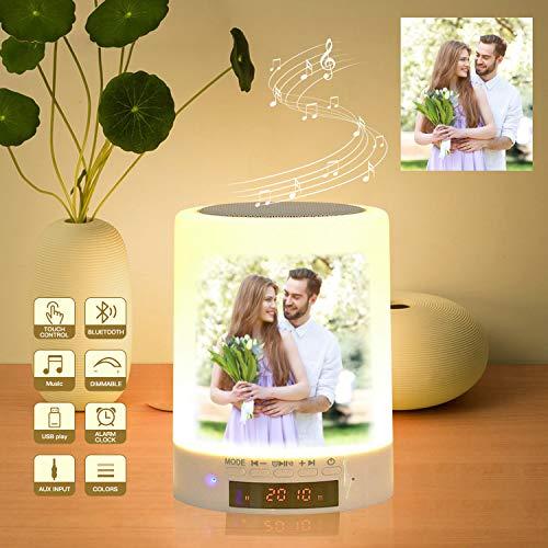Benutzerdefiniertes Foto Nachttischlampe Stimmungslicht mit Bluetooth Lautsprecher, USB Wiederaufladbar Smart Touch Control Tischlampe Musik Spielen für Valentinstag Geburtstagsges Hochzeitsgeschenk