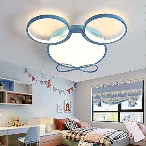 WJLL Lámpara De Techo LED para Habitación De Niños Luz con Control Remoto Lámpara De Techo Minnie De Metal Acrílico Regulable Niño Niña Jardín De Infantes Dormitorio Sala De Estudio Iluminación,Azul