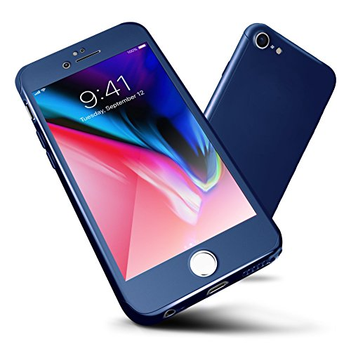 ORETECH iPhone 6/6s Case Full Body Hard PC Case with[2 x Tempered Glass Screen Protector] Ultra-thin Lightweight Shock-Absorption and Anti-Scratch Case for iPhone 6 Case -4.7'-Blue