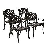 ARTETHYS 4 Piece Cast Aluminum Iron Chair Outdoor Bistro Dining Chair Set Aluminum Dining Chairs for Patio Yard Garden Furniture Antique Bronze (2)