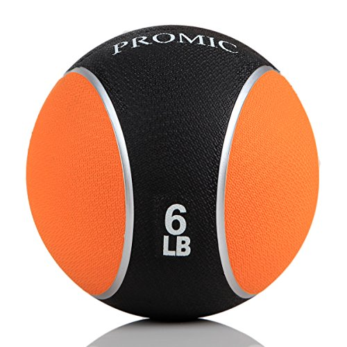 PROMIC 18 lb Medicine Ball, Sturdy Rubber Construction Comfort Textured Grip for Strength Training (18-Pounds)