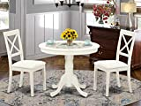 East-West Furniture Modern Dining Table Set- 2 Excellent Kitchen Chairs - A Beautiful Round Kitchen Table- Faux Leather Seat and Linen White Finnish Pedestal Dining Table
