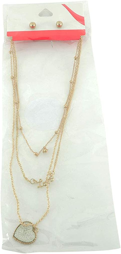 Items 4 U! Gold Triple Love Necklace and Earrings Set, Heart, Love and Chain Necklace
