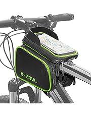 COFIT Bolsa de Manillar para Bicicleta, 3 en 1 Gran Capacidad Bolsa Cuadro Bicicleta con Pantalla Táctil Soporte Móvil para Telefono de Impermeable Bolsa Manillar (Verde/Gris)