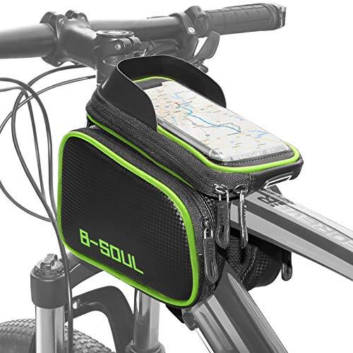 COFIT Bolsa de Manillar para Bicicleta, 3 en 1 Gran Capacidad Bolsa Cuadro Bicicleta con Pantalla Táctil Soporte Móvil para Telefono de Impermeable Bolsa Manillar (Verde)