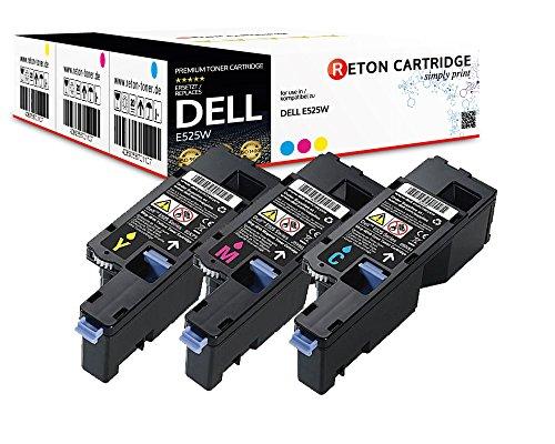 3 Reton Toner | 30prozent höhere Druckleistung | kompatibel zu Dell E525w Kapazität: Farben je 1820 Seiten