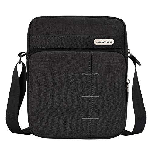 UBAYEE Piccola Borsello Uomo Tracolla in Tela con Multi-scomparti (Compatibile con iPad Mini/Tablet da 8,5 Pollici, 22 cm), Nero