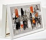 Cuadroexpres - Cubre Contador Pintada Abstracta Gris y Naranja 22x37x4cm (Interior) Caja Decorativa para el Cuadro de Luces. En Melamina Blanca. Fácil de Colocar