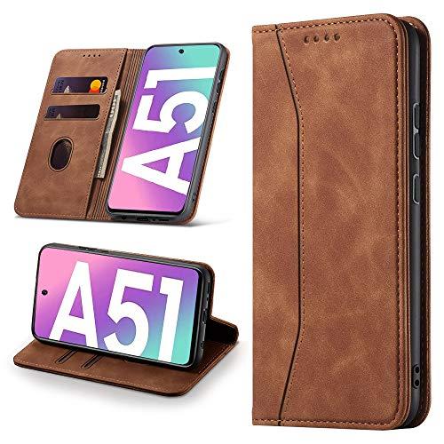 Leaisan Handyhülle für Samsung Galaxy A51 Hülle Premium Leder Flip Klappbare Stoßfeste Magnetische [Standfunktion] [Kartenfächern] Schutzhülle für Samsung Galaxy A51 Tasche - Braun