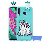 HopMore Divertidas Funda para Samsung Galaxy A40 Silicona Dibujo 3D Panda Animal Carcasa TPU Gel Ultrafina Slim Case Antigolpes Caso Protección Cover Design Gracioso - Unicornio Verde
