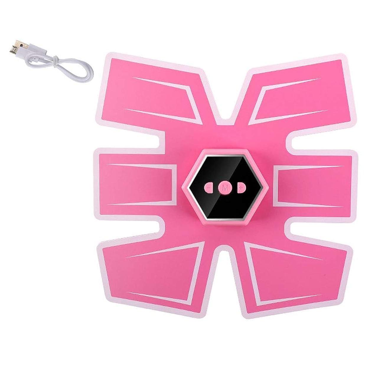 ドキドキ再開ぎこちない腹筋刺激装置、インテリジェントな音声ブロードキャストとUSB充電、Esther Beauty EMSトレーナー筋肉トナー腹部調色ベルトフィットネス機器 (Color : Ordinary-Pink, Size : B)