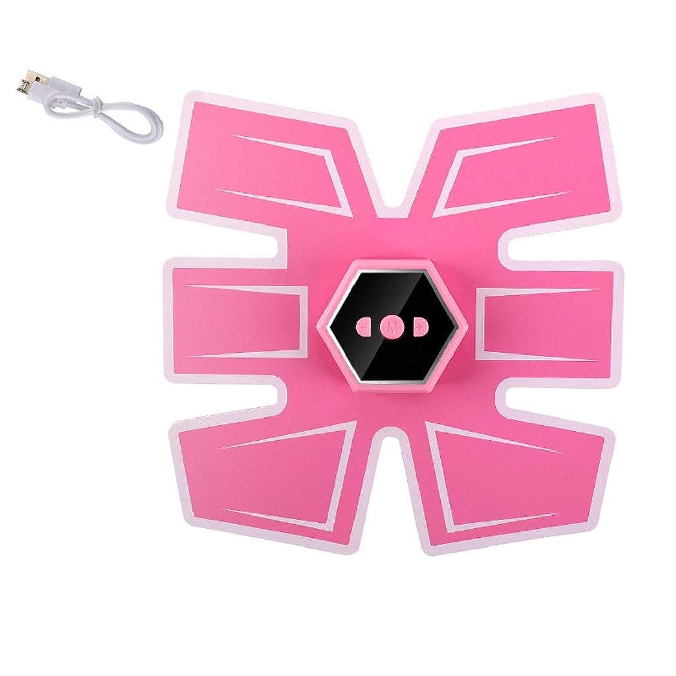 ノイズ戦う眠いです腹筋刺激装置、インテリジェントな音声ブロードキャストとUSB充電、Esther Beauty EMSトレーナー筋肉トナー腹部調色ベルトフィットネス機器 (Color : Ordinary-Pink, Size : B)