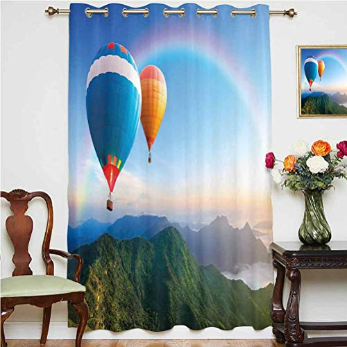 Rainbow Shading Curtains Hot Air Balloon Flying Lovely Mountain Side with Clear Sky and Rainbow Decorative Thermal Backing Sliding Glass Door Drape ,Single Panel 63x72 inch,for Sliding Door Sky Blue M
