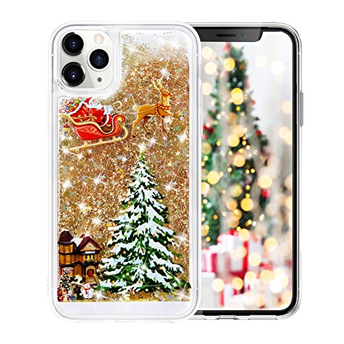 Fusicase for iPhone 11 Glitter Case Cute Merry Christmas Bling Liquid Floating Sparkle Shiny Luxury Protective Cover Rudolph Santa Claus Deer Tree Pattern Case for iPhone 11 Gold