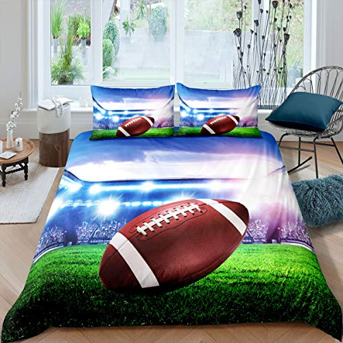 Loussiesd Boys Rugby Bedding Set 3D Powerful Cool American Football Duvet Cover for Teens Youth Man Sports Comforter Cover Athlete Competitive Bedspread with 2 Pillowcases 3Pcs Bedding Super King