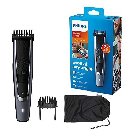 Philips Beard & Stubble Trimmer/Hair Clipper for Men, Series 5000, 40 Length Settings, Self-Sharpening Metal Blades, UK 3-Pin Plug - BT5502/13
