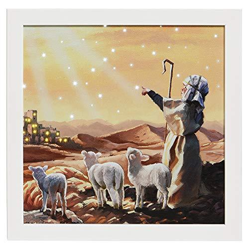 zeitzone LED Bild Schäfer Schafe Orient Weihnachten Wandbild mit Touch Funktion 28x28cm