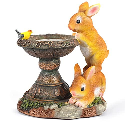 KNMY Coniglio Ornamento da Giardino ad energia Solare, Statua da Giardino a energia Solare Figurine di Animali per Cortile Prato Decorazione