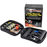 Pit Posse Motorcycle Tire Repair Kit with Co2 Inflator and Cartridges for Tube and Tubeless Tires, Emergency Roadside Kit, Flat Tire Accessories for Easy Repair