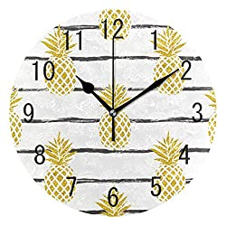 ALAZA Home Decor Summer Gold Pineapple on Striped Round Acrylic 9.5 Inch Wall Clock Non Ticking Silent Clock Art for Living Room Kitchen Bedroom