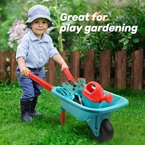 CUTE STONE Kids Gardening Tool Set, Garden Toys with Wheelbarrow, Watering Can, Gardening Gloves, Hand Rake, Shovel, Trowel, Double Hoe, Apron with Pockets, Outdoor Indoor Toys Gift for Boys Girls