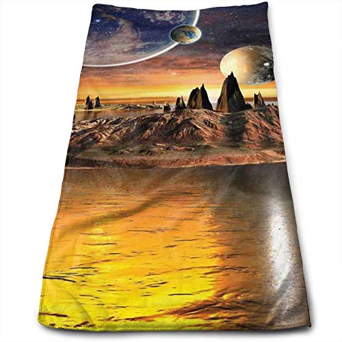 Thick Microfiber Towel, 12' x 27.5',Alien Planet with Earth Moon and Mountain Fantasy Sci Fi Galactic Future Cosmos Art,Towel for Kids, Teens and Adults- Soft, Sand Free, Water Absorbent, Lightweight
