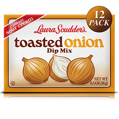 Laura Scudder's Toasted Onion Fun Dip Mix Seasoning Powder Sauce (12 PACK) Great Tasting, Fat-Free Creamy Best Party Snack Dips, Perfect for Tortilla, Veggie Chips, Bagel Pork Rinds and more