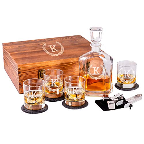 Personalized Whiskey Set in Wooden Box