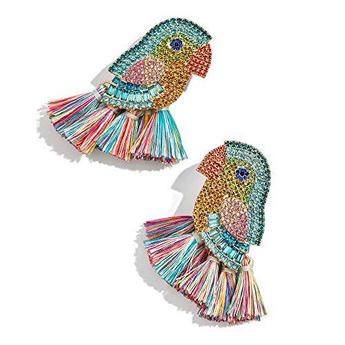 Tassel Earrings Beaded Statement Earrings Square Bohemian Handmade Fringe Drop Dangle Earrings for Women Girls