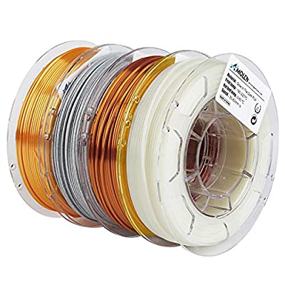 AMOLEN PLA 3D Printer Filament, 1.75mm, Set with Glow in The Dark Green, Marble, Silk Gold, Silk Copper, Each Spool 200g, 4 Spools Pack