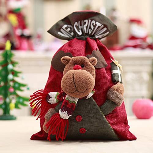 Hyden-MX Bolsas de cordón de Navidad de 3 Estilos Bolsas de Regalo de Saco de Alce de muñeco de Nieve de Santa Bolsas de Dulces para decoración de Fiesta