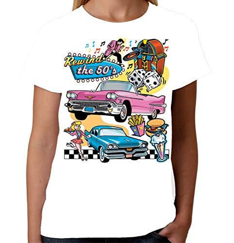 TYML Mode Sommer Stil Damen Zurückspulen Die 50Er Jahre T-Shirt Diner Rock N Roll T Hemd