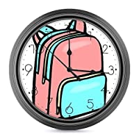 キッズピンクランドセル ウォールクロック 壁掛け時計 アナログ クロック インテリア 円形 サイレント ノベルティ 印刷 掛置兼用 連続秒針 家 寝室 居間 食堂 浴室 台所用 直径25cm 部屋装飾