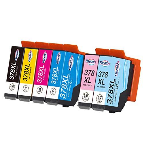 Paeolos 378XL Cartuchos de Tinta Compatible para Epson 378 378 XLpara Epson Expression Photo XP-8500 XP-8505 XP-15000 XP-8600 XP-8605 Negro/Cian/Magenta/Amarillo