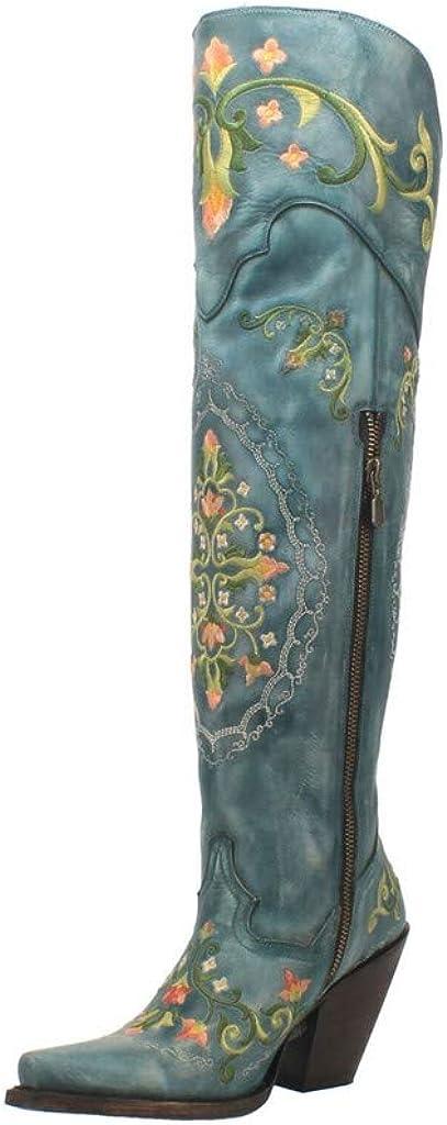 Dan Post Boots Womens Flower Child Snip Toe Western Cowboy Dress Boots Knee High High Heel 3