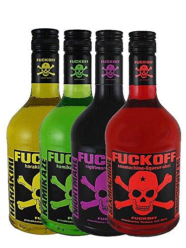 Fuckoff Mix Set jew. 1 x 0,7L Harakiri Amarula mit Peach, Kamikaze Waldmeister mit Limette, Nightmare schwarze Beere, Sexmachine rote Kirsche