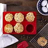 """Discover the convenience and easy release of flexible silicone bakeware. This non-stick silicon... 6 cavities Colour/Pattern: Cherry red Dimensions: 11""""L × 7½""""W × 2""""D"""